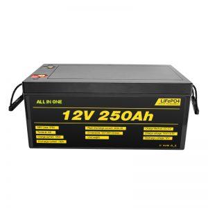 ແບດເຕີຣີ້ລະບົບພະລັງງານແສງຕາເວັນທີ່ນິຍົມທີ່ສຸດປະກອບມີ 12V 250Ah LiFePO4 Lithium Ion Battery